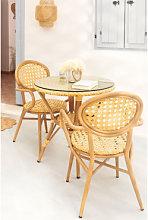 Set tavolo rotondo (Ø75 cm) e 2 sedie in rattan