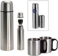 Set thermos da 1 litro con 2 tazze in acciaio