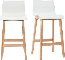 Sgabello da bar design legno e bianco 75cm set di