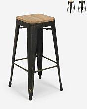 Sgabello design metallo legno industriale stile