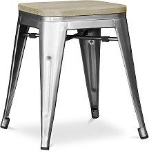 Sgabello stile Tolix - 46 cm - Metallo e legno