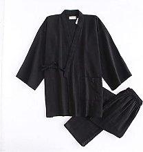 simple Black kimono robes men cotton pajamas sets
