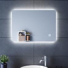 SIRHONA Specchio LED da Bagno 70 x50cm, Specchio