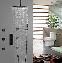 Sistema doccia termostatico nero a soffitto con