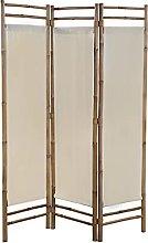 SKM Paravento Pieghevole a 3 Pannelli in Bambù e