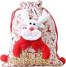 SKYVII Sacchetto regalo di Natale in lino con