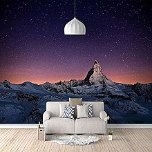 Snow Mountain Landscape Bottom Star 3D Wallpaper