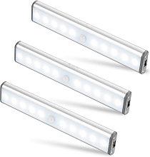 Soekavia - Set di 3 lampade a 10 LED, wireless,