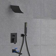 Soffione doccia con cascata a parete e sistema