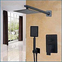 Soffione doccia da bagno nero da 8 pollici montato