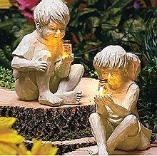 Solare Barattolo di Lucciola Bambini Statua