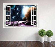 Space Planets Moons finestra adesivo da parete