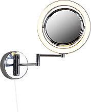Specchio bagno design cromato con LED orientabile