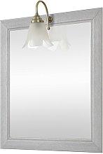 Specchio con cornice in legno + lampada 70x90