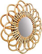 Specchio da parete in rattan, con cerchio in