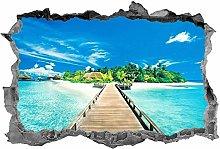 Spiaggia, adesivo, spiaggia tropicale, arte della