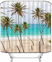 Spiaggia, mare, albero di cocco, fresco tenda da