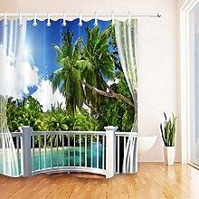 Spiaggia tropicale verde palme stampa HD, tenda