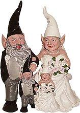 Sposato Statua di Gnomo Da Giardino,Dwarf Coppia