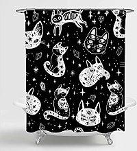 SPXUBZ Tenda da doccia con gatto di strega per