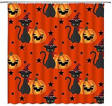 SPXUBZ Tenda da doccia di Halloween, Horror Orange