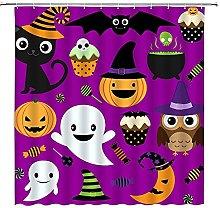 SPXUBZ Tenda da doccia di Halloween, viola fumetto