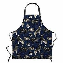 SQSHWL Grembiule da Cuoco con Stampa di Lupo Senza