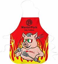STAMPATEK Grembiule Divertente Barbecue Master