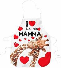 STAMPATEK Grembiule I Love Mamma Giraffe Cuori