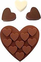 Stampo in silicone a forma di cuore, 10 fori, per