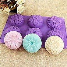 Stampo in silicone a forma di fiore, 6 cavità, in