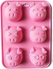Stampo in silicone a forma di testa di maiale a 6