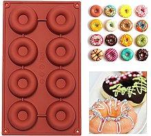 Stampo in silicone per 8 ciambelle, per torte,