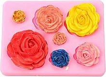 Stampo in silicone per cupcake con rose e fondente