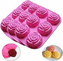 Stampo in silicone rosa per sapone, 3 pezzi 6