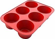 Stampo per muffin, in silicone a 6 fori, rotondo,