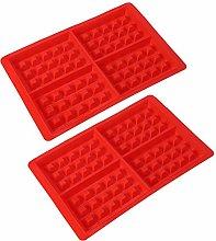 Stampo per Waffle, 2 Pezzi Stampi in Silicone per