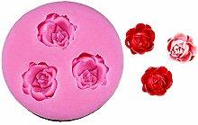 Stampo Silicone 3 Boccioli di Rosa Pasta di