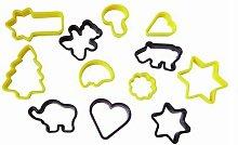 Stampo Taglia Biscotti 12 Decori Forme Misti In