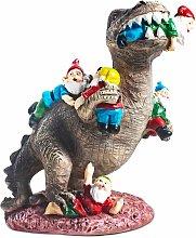 Statua da giardino Dinosauro che mangia Gnomi