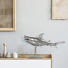 Statua decorativa squalo alluminio argento design
