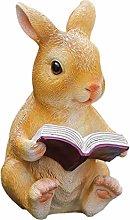 Statua del giardino del coniglio di lettura alto
