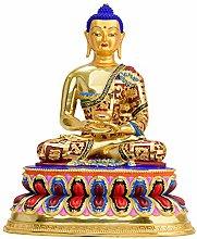 Statua Di Buddha In Ottone Colorato Di Amitabha,