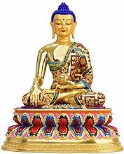 Statua Di Buddha Sakyamuni In Ottone Colorato,