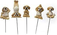 Statua di cane da 5 pezzi, statuetta di posa per