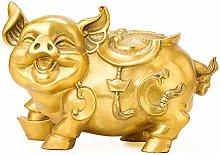 Statua Fengshui in Rame Puro Maiale Carino Ottone,
