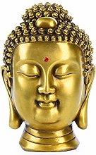 Statua In Rame Puro, Occhi Chiusi E Sorriso