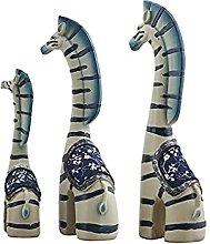 Statua zebra,Ornamenti di zebra,3 pezzi di resina