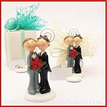 Statuina portafoto sposi in resina coppia gay per