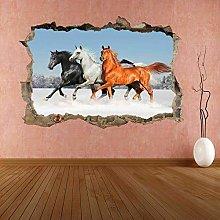 Sticker da muro - 3D- Adesivo murale cavalli neve
